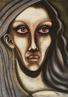 """Saatchi Art is pleased to offer the painting, """"Surrealist Saint Virgin Maria with her fetus Jesus ear,"""" by Seda Calhan, available for purchase at $1.900 USD. Original Painting: Pastel on Paper. Size is 23.4 H x 16.5 W x 0 in. Original Paintings, Original Art, Abstract Portrait, Painting Abstract, Pastel Portraits, Female Portrait, Woman Portrait, Painting Process, Woman Painting"""