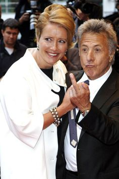 Celebs Giving The Finger: Dustin Hoffman, Emma Thompson at the 'Last Chance Harvey' UK premiere held at the Odeon West End.