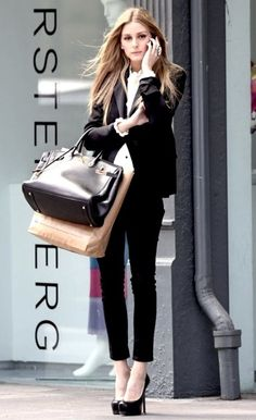 Classic Office Wear. Chic in Black Pants.