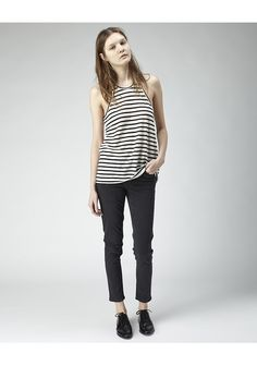 T by Alexander Wang / Linen Stripe Tank | La Garçonne. Linen Stripe Tank by T by Alexander Wang.  Gauzy linen tank with racer back & contrast stripes.  Worn with / Acne Studios Skin 5 Used Black Jeans & Alexander Wang Croc Embossed Ingrid Oxford.