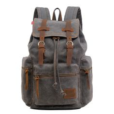 Gray Casual Vintage School Hiking #Canvas #Backpack Laptop Compartment