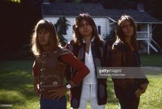 Keyboardist Keith Emerson, bassist Greg Lake, and drummer Carl Palmer of progressive rock group Emerson, Lake, and Palmer pose for a portrait in August 1971 in Danbury, Connecticut.