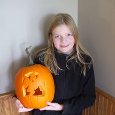 Kimberly and her spooky pumpkin.
