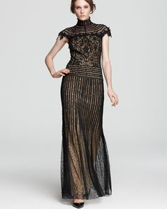 Tadashi Shoji Gown - Turtleneck Mixed Lace - Dresses - Apparel - Women's - Bloomingdale's