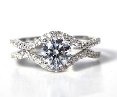 1.45 carat Round - Diamond Engagement Ring 14K white gold - Split Open Double Shank - Weddings- Luxury- Brides