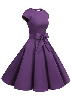50s Rockabilly Style Cap Sleeves Purple Retro Swing Dress With Bowknot on Luulla