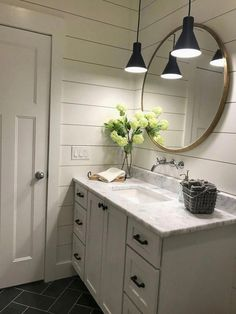 Modern Farmhouse Master Bath Renovation - Obsessed with our vanity spaces! Modern Farmhouse Master Bath Renovation - Obsessed with our vanity spaces! Bathroom Renos, Bathroom Interior, Remodel Bathroom, Bathroom Cabinets, Bathroom Remodeling, Shiplap In Bathroom, Quartz Bathroom Countertops, Bathroom Makeovers, Round Bathroom Mirror