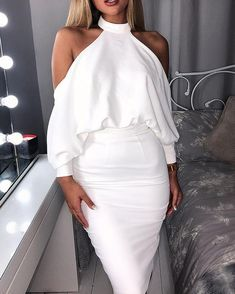 Vestido ajustado sin espalda con hombros caídos (S/M/L/XL) $27.99 Sleeve Styles, Amazing Women, Work Wear, Backless, Jumpsuit, Bodycon Dress, Lingerie, Chic, Long Sleeve