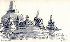 indonesia drawing at DuckDuckGo Urban Sketchers, Watercolor Sketch, Watercolor Paintings, Temple Drawing, Borobudur Temple, Indonesian Art, Twitter Header Aesthetic, Digital Art Tutorial, Buddhist Temple