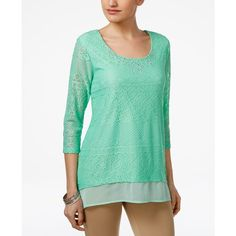 Jm Collection Petite Layered-Look Lace Tunic, Created for Macy's ($19) ❤ liked on Polyvore featuring tops, tunics, mint julip, mint top, mint tunic, green lace top, mint lace top and petite lace top