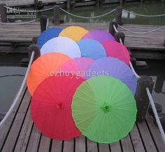 Wholesale Handmade Soild Color Chinese Bamboo Parasol Wedding Umbrellas Party Favors Souvenior 31.5 Inches Dia, Free shipping, $8.97-10.07/Piece | DHgate