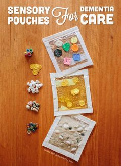 These touchy-feely sensory pouches (also known as squish bags and sensory pads) are a wonderful way to explore the senses. They are also so easy to make! Making sensory pouches is a quick and inexpensive way to make an engaging and relaxing sensory activity for people living with dem