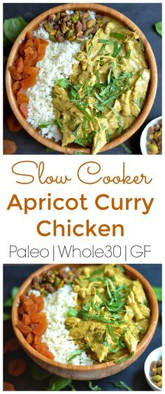 Deliciously creamy coconut curry chicken slightly sweetened with apricots! Let your slow cooker do the work! Paleo, Whole30 approved.