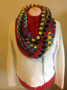 Colorful infinity scarf great for winter by isabelfaith on Etsy, $18.00