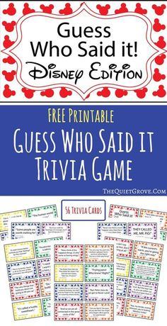 Pass the time on long car trips and evening at home with this fun Free Printable Guess Who Said It: Disney Edition Trivia Game via @TheQuietGrove