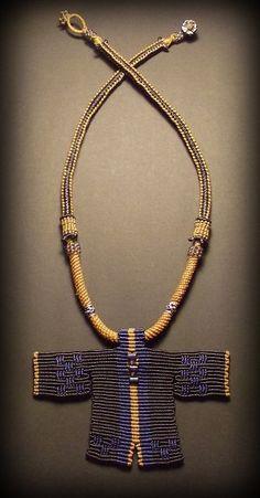 Macrame necklace with negative ions titanium by Mabutirat on Etsy