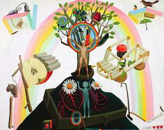 Rainbow Apple Tree by Andrew McLeod - Oil and graphite on canvas
