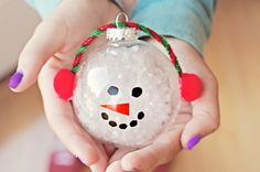 christmas snowman10 Christmas Snowman Ornament Craft Made With Clear Glass Balls gift ideas fun christmas fun art and crafts