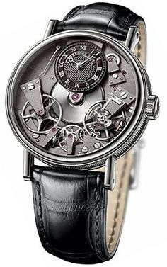 Breguet Tradition Black Skeleton Dial White Gold Black Leather Mens Watch ** Visit the image link more details. (This is an affiliate link and I receive a commission for the sales) Fine Watches, Cool Watches, Men's Watches, Analog Watches, Wrist Watches, Jewelry Watches, Mens Rose Gold Watch, Skeleton Watches, Mens Watches Leather