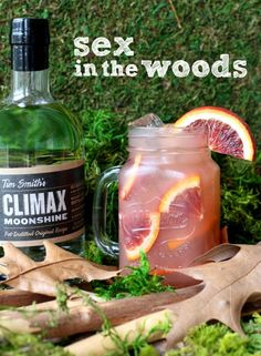 Sex in the woods      2 oz. Climax Moonshine     1½ oz. cranberry juice     1½ oz. orange juice     ¾ oz. peach schnapps     orange slice for garnish