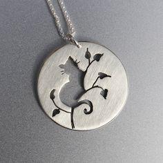 Silver Jewelry Silver Pendant Silver by AngelaWrightDesigns #silverjewelry Metal Jewelry, Silver Jewellery, Cat Jewelry, Animal Jewelry, Black Gold Jewelry, Clean Gold Jewelry, Jewelry Art, Pendant Jewelry, Diamond Jewelry