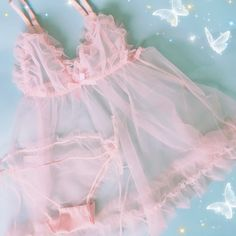 Pink Tulle Set Kawaii Aesthetic Larme Girly Nymphet Fashion – Deer Doll Source by Stfrr Lingerie Retro, Pink Lingerie, Lingerie Outfits, Pretty Lingerie, Lingerie Dress, Luxury Lingerie, Lolita Fashion, Pink Fashion, Emo Fashion