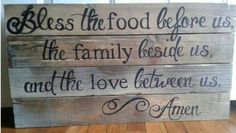 This would be good for the dinning room Kitchen Dinning Room, Dining Room Walls, Crafty Projects, Home Projects, Kitchen Wall Quotes, Wall Sayings, Bless The Food, New Business Ideas, Sweet Home Alabama