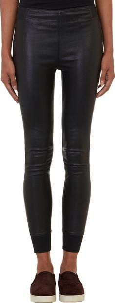 @barneysny Rag & Bone Cuffed Stretch-Leather Leggings ($880)
