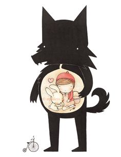 Little Red riding hood in the belly of the wolf. Awesome illustration!