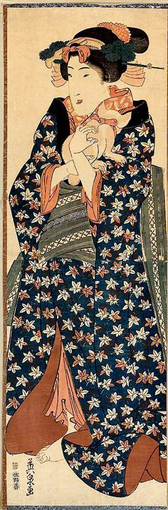 Young lady holding a cat | woodblock print, ca. 1843-1846 | Eisen Ikeda