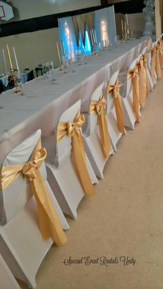 white spandex chair covers gold sashes