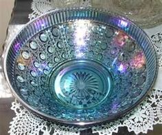 Salad bowl, we have this! Blue Carnival Glass, Antique Glassware, Vintage Carnival, Fenton Glass, Glass Company, Indiana Glass, Vintage Dishes, Large Bowl, Glass Collection