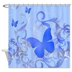 CafePress Blue Butterfly Shower Curtain - Standard White CafePress