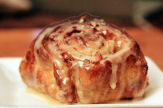 apple pecan cinnamon rolls with a buttery maple glaze