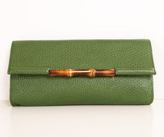 Gucci Green and Bamboo Clutch