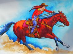 """She Rides A Really Fast Horse! by Beverly Caputo Watercolor ~ 18"""" x 24"""""""
