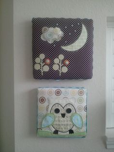 Two canvases,added padding,cute fabric that I stapled on back and with fabric glue layered appliques and buttons for texture! The lil cloud is stuffed with cotton balls for a 3D effect!