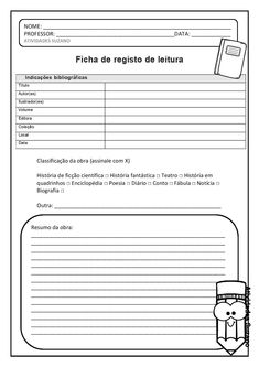 Ficha de registro de leitura para livros | Atividades Pedagogica Suzano Punctuation Posters, Student Survey, Learn Brazilian Portuguese, Instagram Tips, Professor, Books To Read, Sheet Music, Social Media, Teaching