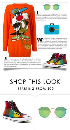 """""""Untitled #1267"""" by ruru833 ❤ liked on Polyvore featuring Converse, Ray-Ban, Moschino and Polaroid"""