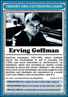 Erving Goffman (1922 - 1983) [click on this image to find a short clip that illustrates Goffman's dramaturgical analysis of social interaction]