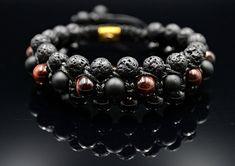 Men's Shamballa Bracelet Red Tiger Eye Bracelet 3 Row Bracelet Gift for Men Black Agate Bracelet Lava Stone Onyx Bracelet Men's Jewelry