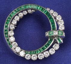 Platinum, Diamond, and Emerald Brooch | Sale Number 2277, Lot Number 544 | Skinner Auctioneers