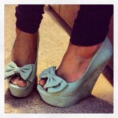 Mint green bow wedges<3