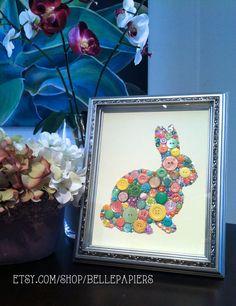 Button Art Swarovski Rhinestones Bunny Rabbit by BellePapiers #bunny #easter #easterbunny #easterideas #buttons #buttonart #vintagebuttons #rabbits #bunnies #swarovski #rhinestones #sparkle #homedecor
