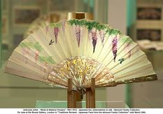 """Unknown artist """"Birds & Wisteria Flowers"""" 1881-1914  Japanese fan, embroidered on silk, Ishizumi Family Collection. On view at the Brunei Gallery, London in """"Traditions Revised - Japanese Fans from the Ishizumi Family Collection"""