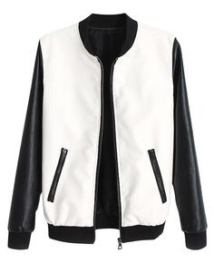 To find out about the White Contrast Long Sleeve Pockets PU Jacket at SHEIN, part of our latest Jackets ready to shop online today! Pu Jacket, Men's Leather Jacket, Leather Sleeves, Jacket Style, Extreme Metal, Women's Dresses, Fashion Dresses, Leather Varsity Jackets, Sweater Coats