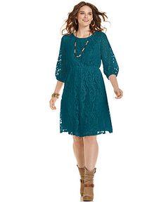 ING Plus Size Dress, Three-Quarter-Sleeve Lace - Plus Size Dresses - Plus Sizes - Macy's
