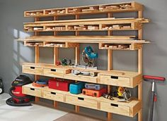 With built-in worksurfaces and a cutting center, this lumber rack is for much more than storing boards.