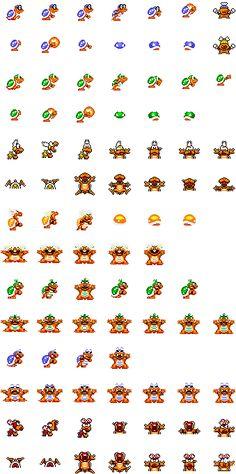 A large Sprite collection of the famous Super Mario World game for Snes! Mario And Luigi, Mario Bros, Super Mario World Game, Hama Beads Mario, Game Room Decor, Sprites, C2c, Kaneki, Pixel Art