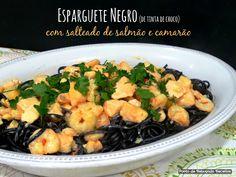 Esparguete negro com salmão e camarão